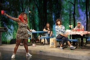 Heather Alicia Simms, Benja Kay Thomas, Kim Wayans, and Marc Damon Johnson in BARBECUE, written by Robert O'Hara and directed by Kent Gash, running at The Public Theater. Photo credit: Joan Marcus.