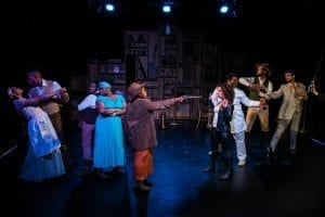 "L to R- Carmen Lobue, Franck Juste, Eric Lockley, Tesiana Elie, Ngozi Anyanwu, Shelley Fort, Larry Owens, Brough Hansen, Miles G. Jackson in ""Harry and the Thief"" by Sigrid Gilmer at The Robert Moss Theater. Photo by Mallory Woods"
