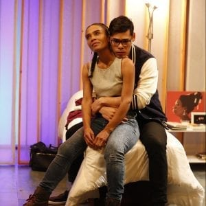 Suzette Azariah Gunn and Ruy Iskandar in BLACK FLAG by Idris Goodwin, directed by Logan Vaughn. Photo by Carol Rosegg