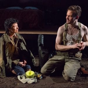 "L-R: Mickey Theis and Julienne Hanzelka Kim in ""Among the Dead."" Photo by Hunter Canning."